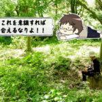 森でメールするオトコ